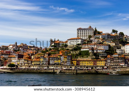 The old town of Porto in Portugal. View of the Ribeira historical quarter. - stock photo