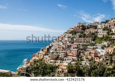 The old town of Positano, Sorrento Peninsula, Italy - stock photo
