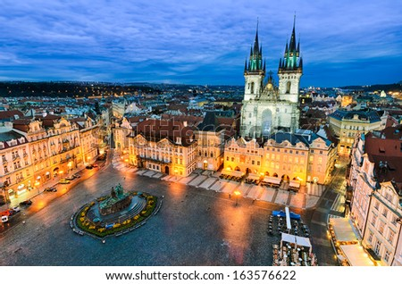 The Old Town Square at night in Prague, Czech Republic - stock photo