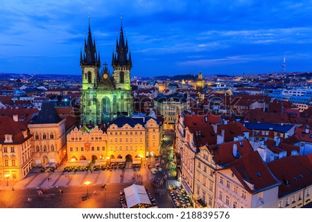 The Old Town Square at night in Prague, Czech Republic