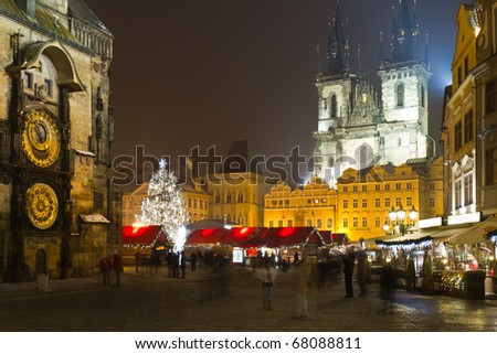 The Old Town Square at winter night in the center of Prague City - stock photo