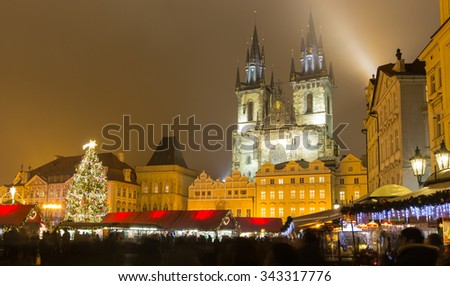 The Old Town Square in Prague at winter night - stock photo