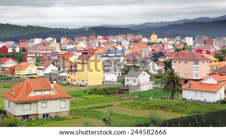 The old town vintage architecture in Galicia, Spain - stock photo