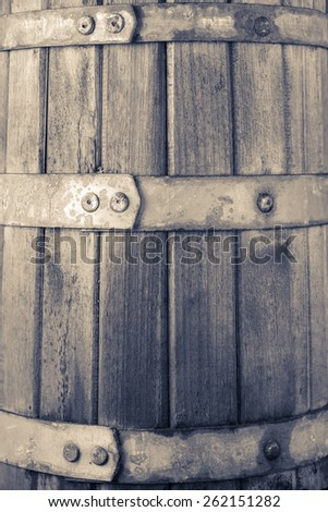 The old tub / barrel for wine or pickles background. color toning - stock photo
