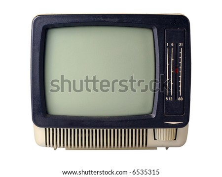 The old TV isolated on a white background - stock photo