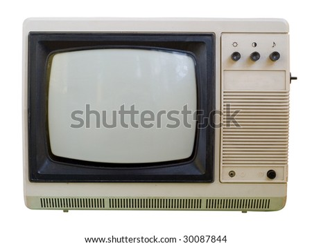 The old TV isolated on a white background. The switch channels in the side of the hull. No remote control.