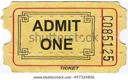 The old vintage paper ticket with number