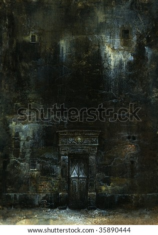 The old wall. Made by acrylic on paper. - stock photo