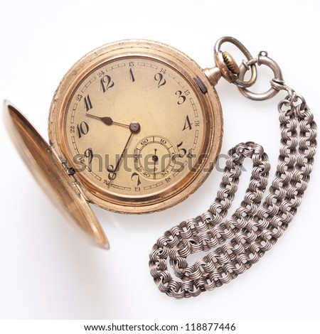 The old watch with marks of use isolated - stock photo
