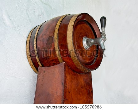 The Old wooden barrel beer - stock photo