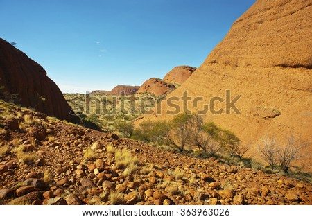 The Olgas, in the Australian outback, a must see tourist destination. - stock photo