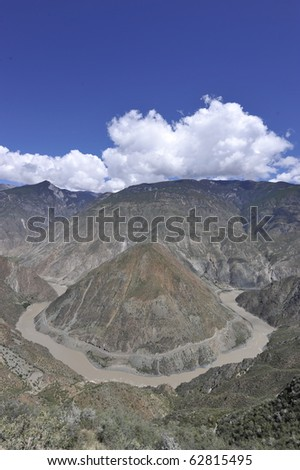 the Omega Bend of  Yangtze River, Yunnan Province, China