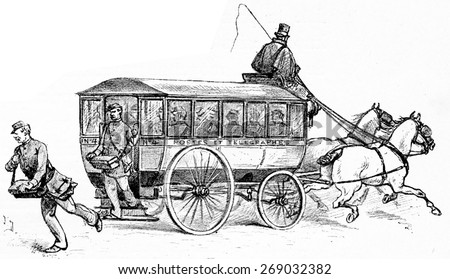 The omnibus factors, vintage engraved illustration. Paris - Auguste VITU 1890. - stock photo