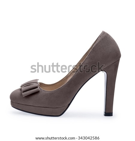 The one of gray brown female shoes on a white background.