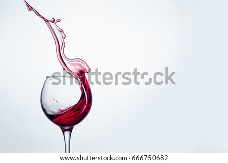 The one wine glass against white