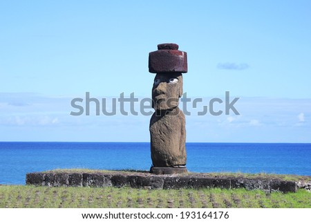 The only moai with eyes on Easter Island  - stock photo