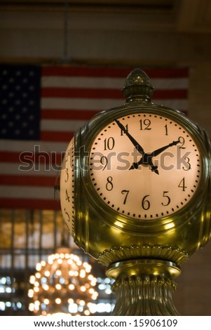 The opal clock above the information in Grand Central Terminal, New York