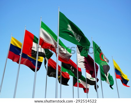 The OPEC countries. Flags waving in the wind. 3d illustration - stock photo