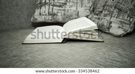 The open book lies on a sofa near two pillows