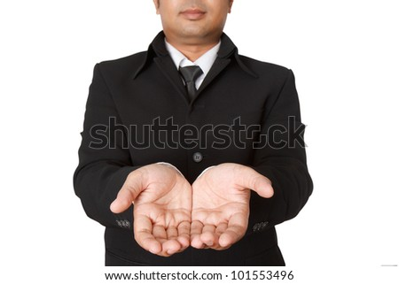 The open hands of businessman
