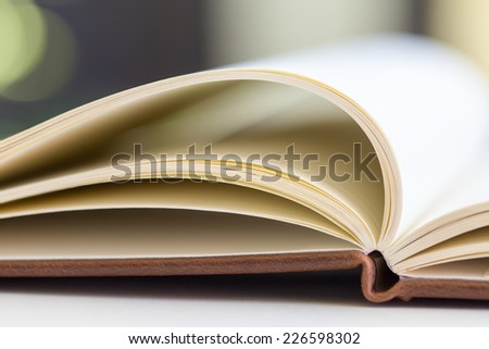 the opened book on the table - stock photo