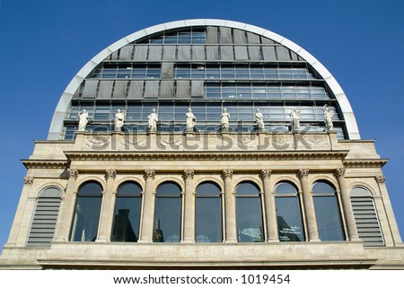 The opera house in Lyon (France)  was rebuild in a neo-classical style in 1830 and completely renoveted at the end of the XXth century by Jean Nouvel. - stock photo