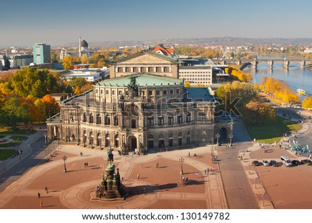 The opera in Dresden at autumn - stock photo