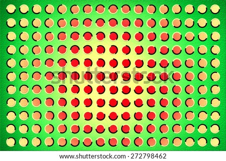 The optical illusion of movement executed in the form of fluctuating red circles over green background - stock photo