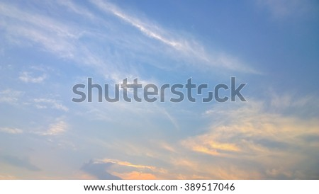 The orange cloud and white cloud - stock photo