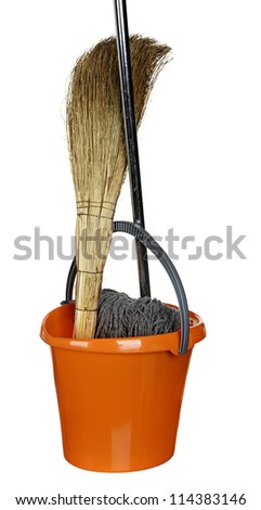 the orange plastic bucket, broom and MOP isolated on a white background.