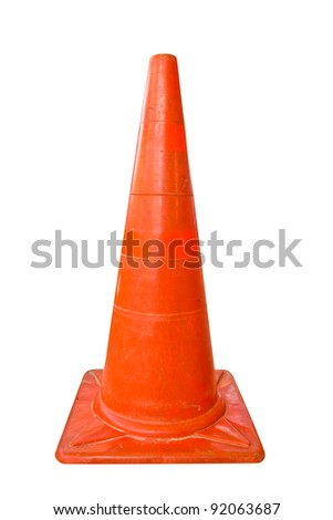 the orange plastic cone on white background with clipping path - stock photo