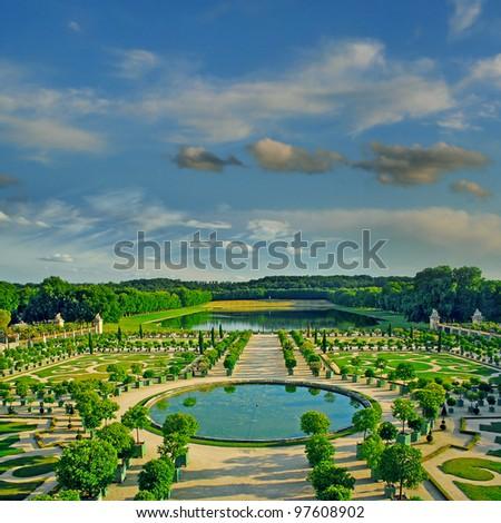 The Orangerie garden of Versailles Palace, Paris, France, UNESCO World Heritage Site - stock photo