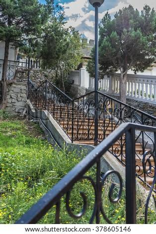 the oranje  stairs on the street - stock photo
