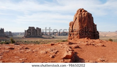 The Organ, and Rocky Formations at Arches National Park in Utah, USA - stock photo