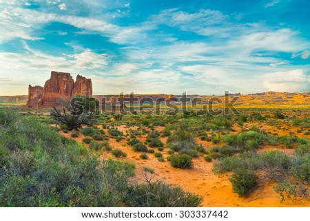 The Organ, Arches National Park, UT - stock photo