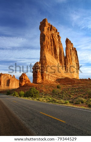 The Organ in Courthouse Towers, Arches National Park, Utah - with the Tower of Babel in the background - a huge sandstone fin formation. - stock photo