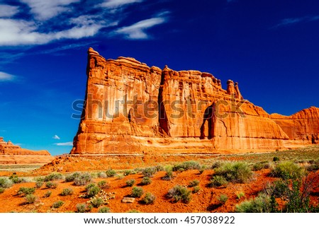 The Organ is an impressive sandstone fin located at Arches National Park, Utah, USA. - stock photo