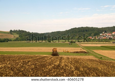 The organic fertilizers on the  field. - stock photo