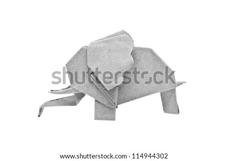 The origami elephant asian recycle gray paper, Isolated on white. - stock photo