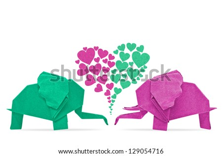 The origami elephant asian recycle paper with love, Isolated on white. - stock photo
