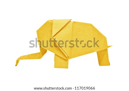 The origami elephant asian recycle yellow paper, Isolated on white. - stock photo