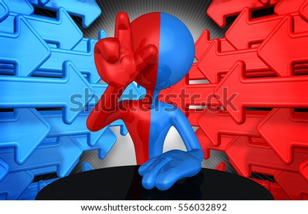 The Original 3D Character Illustration Split Red And Blue