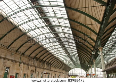 The Ornate Canopy of a British Railway Station - stock photo