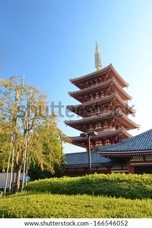 The ornate five-storey pagoda at Sensoji Temple in Tokyo, Japan.  - stock photo