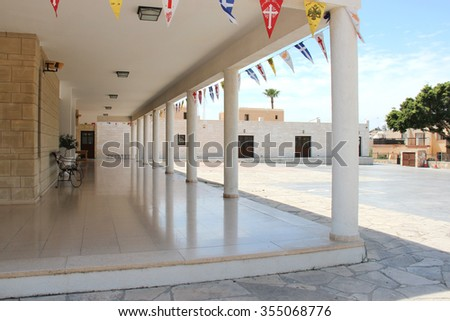 The Orthodox Church, decorated with flags for the Easter holiday in Ayia Napa, Cyprus