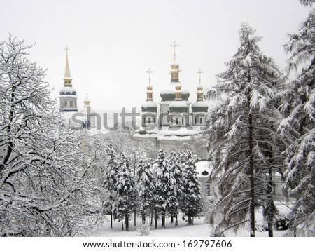 The Orthodox Church. winter - stock photo