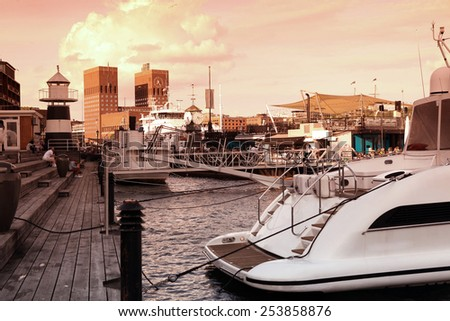 The Oslo bay, Radhuset (city hall), Norway - stock photo