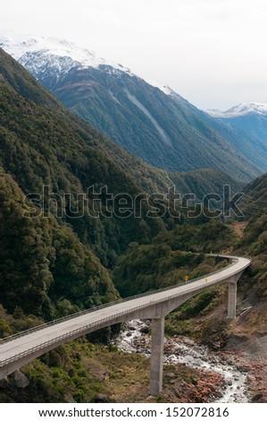 The Otira Viaduct, Arthur's Pass, Southern Alps, New Zealand - stock photo