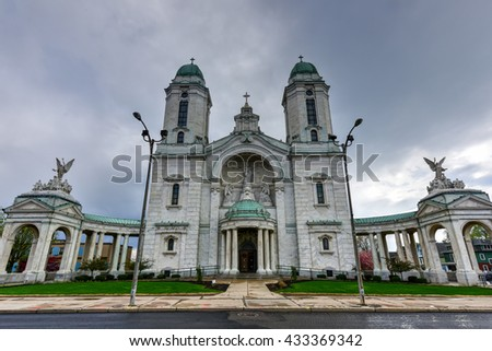 The Our Lady of Victory Basilica. It is a Catholic parish church and national shrine in Lackawanna, New York. - stock photo
