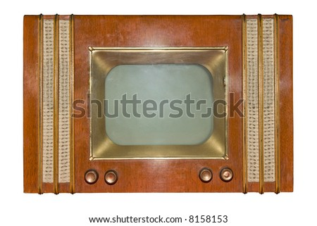 The out-of-date TV on a white background